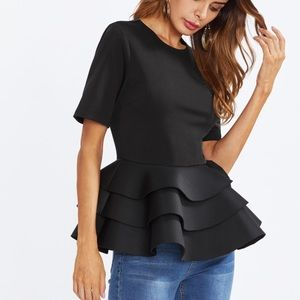 Black party top ruffle style peplum!